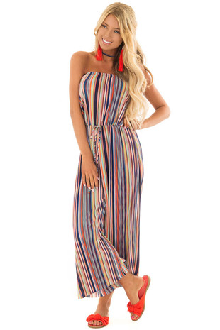 Multicolor Stripe Ribbed Strapless Jumpsuit front close up