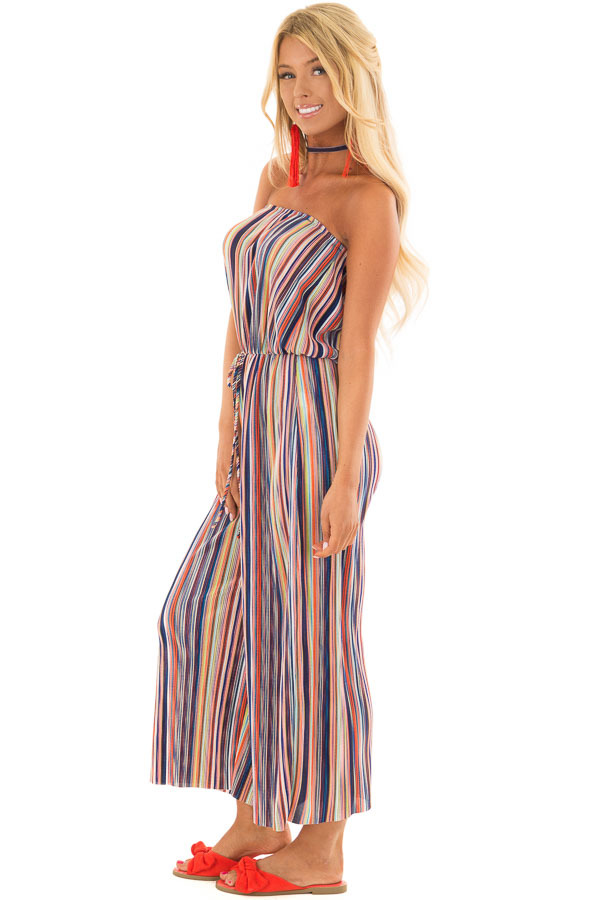 Multicolor Stripe Ribbed Strapless Jumpsuit side full body