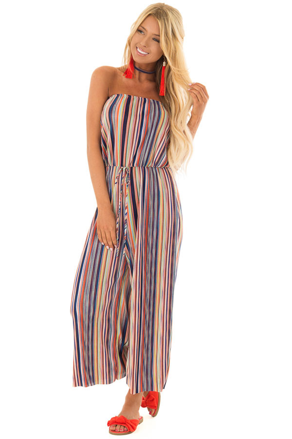 Multicolor Stripe Ribbed Strapless Jumpsuit front full body