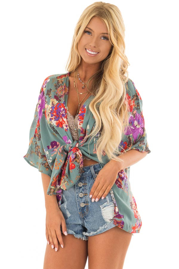 Dusty Teal Floral Print Short Sleeve Kimono front close up