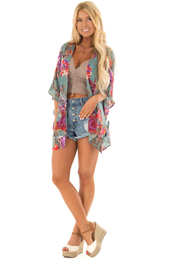 Dusty Teal Floral Print Short Sleeve Kimono front full body