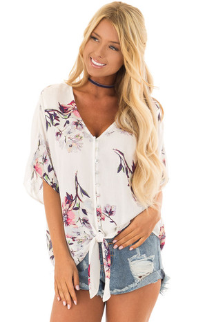 Ivory Floral Print Short Sleeve Button Up Top front close up