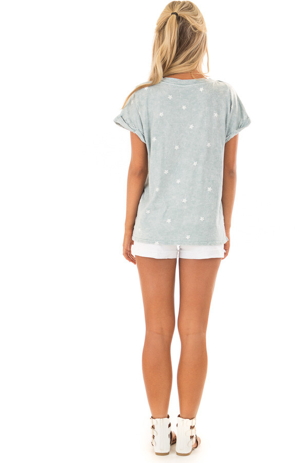 Dusty Mint Mineral Wash Short Sleeve Top with Star Print back full body