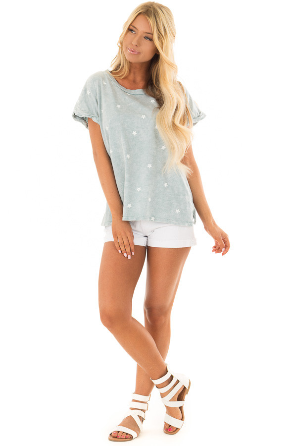Dusty Mint Mineral Wash Short Sleeve Top with Star Print front full body