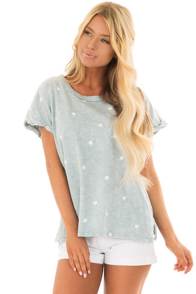 Dusty Mint Mineral Wash Short Sleeve Top with Star Print front close up