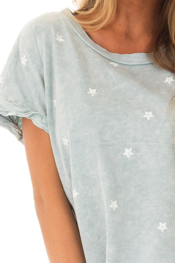 Dusty Mint Mineral Wash Short Sleeve Top with Star Print detail
