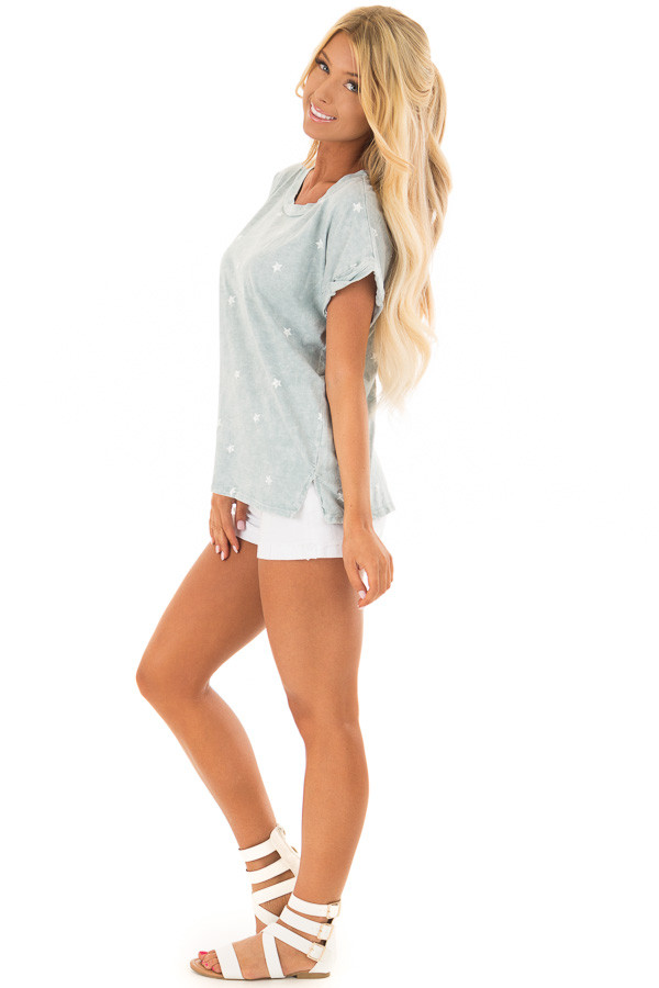 Dusty Mint Mineral Wash Short Sleeve Top with Star Print side full body