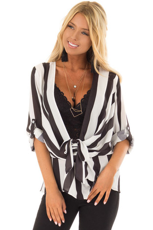 Black and White Striped Deep V Blouse with Front Twist front close up