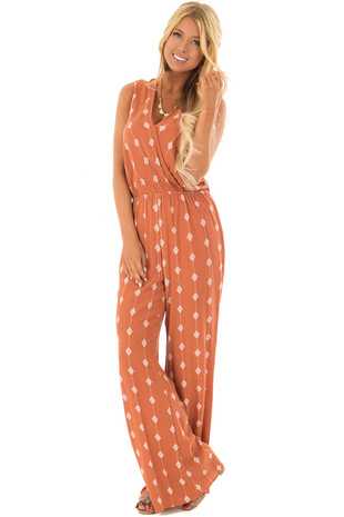Rust Diamond Line Print Jumpsuit front full body