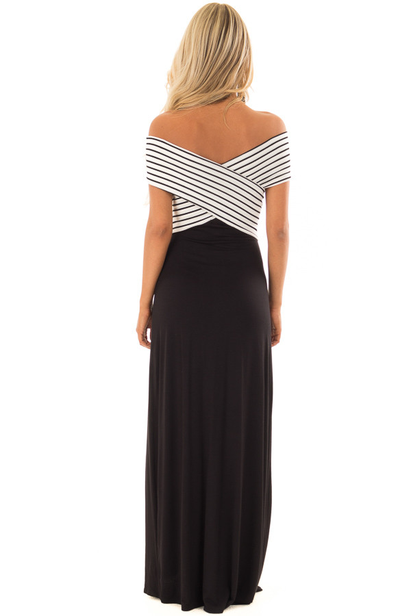 Black Maxi Dress with Crossover Striped Contrast back full body
