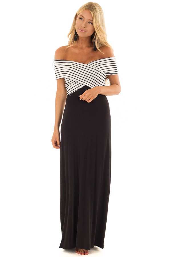 Black Maxi Dress with Crossover Striped Contrast front full body