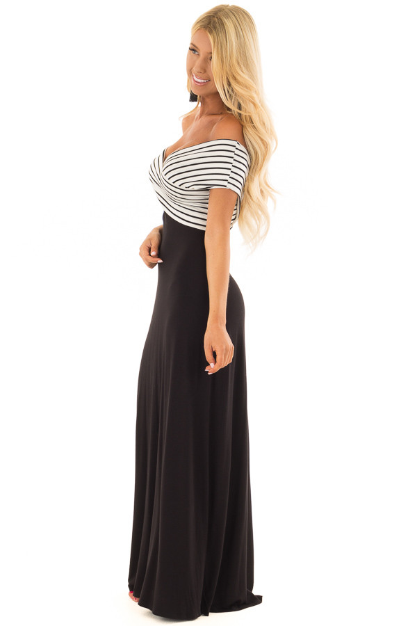 Black Maxi Dress with Crossover Striped Contrast side full body