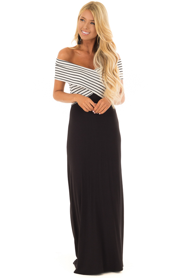 Black Maxi Dress with Crossover Striped Contrast front close up