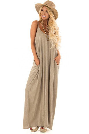 Sage V Neckline Maxi Dress with Hidden Pockets front full body