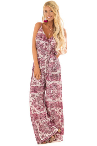 Magenta Printed Jumpsuit with Side Pockets and Tie Detail front full body