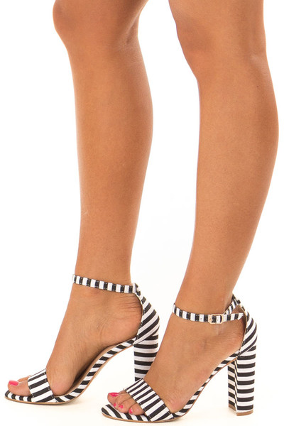 Black and White Striped High Heels side view