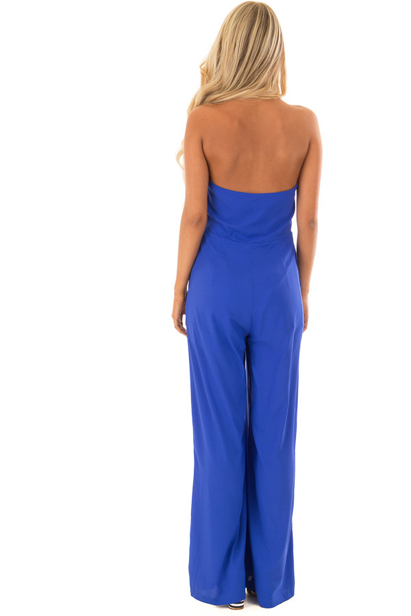 Capri Blue Halter Top Jumpsuit with Side Pockets back full body