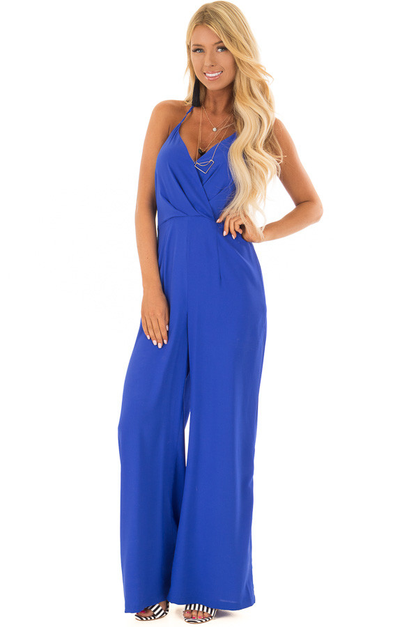 Capri Blue Halter Top Jumpsuit with Side Pockets front full body