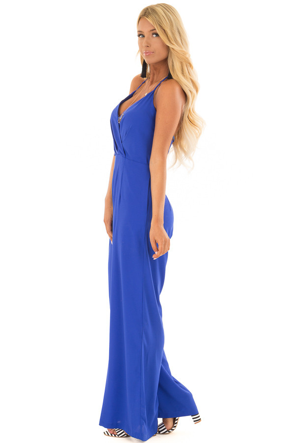 Capri Blue Halter Top Jumpsuit with Side Pockets side full body
