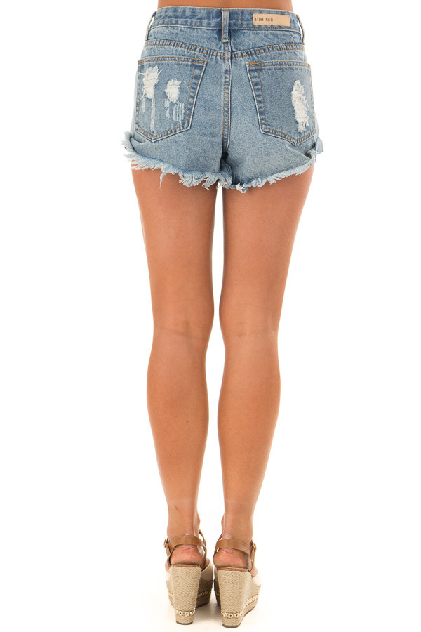 Light Denim Distressed Button Down High Side Shorts back view