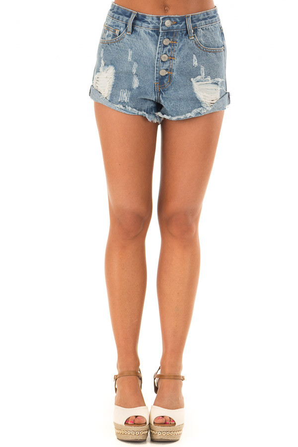 Light Denim Distressed Button Down High Side Shorts front view