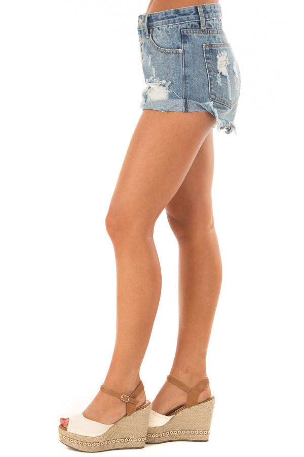 Light Denim Distressed Button Down High Side Shorts side view