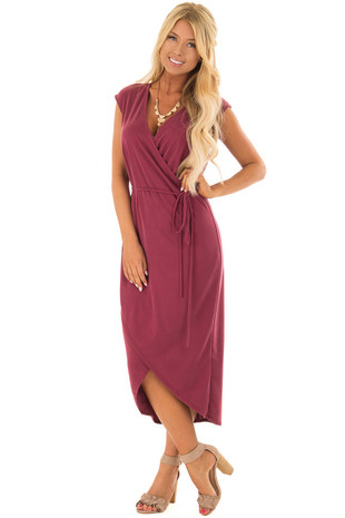 Wine Short Sleeve Wrap Style Midi Dress with Waist Tie front full body