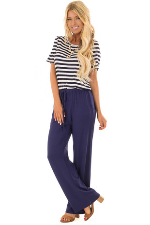 Navy Striped Short Sleeve Jumpsuit with Pockets front full body