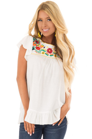 White Short Sleeve Top with Embroidered Yoke Detail front closeup