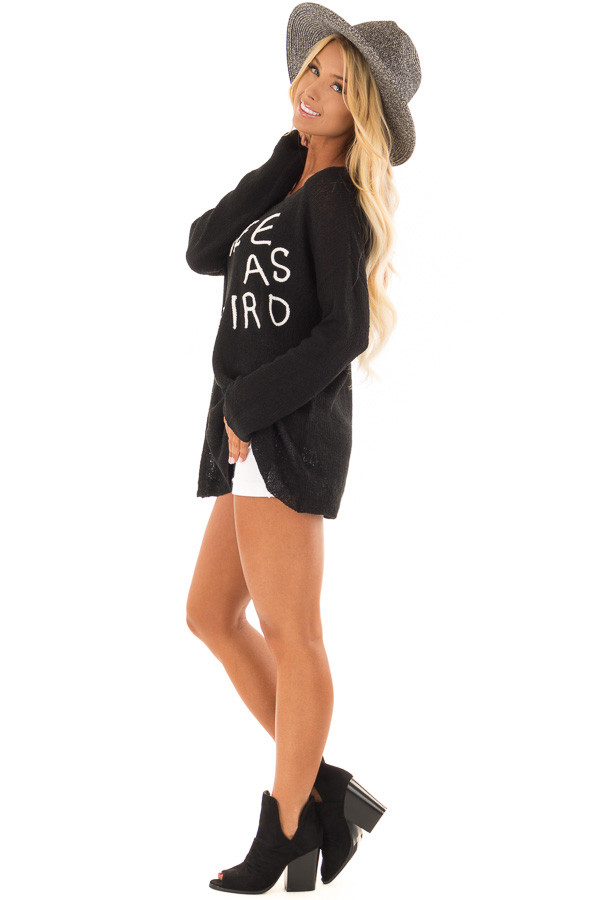 Black Cable Knit 'Free As a Bird' Lightweight Sweater side full body