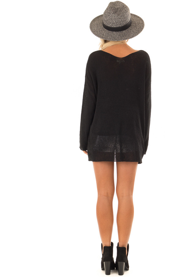 Black Cable Knit 'Free As a Bird' Lightweight Sweater back full body