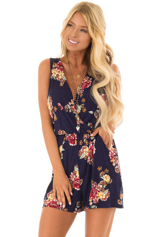 Navy Floral Sleeveless Wrap Style Romper with Tie Back front closuep