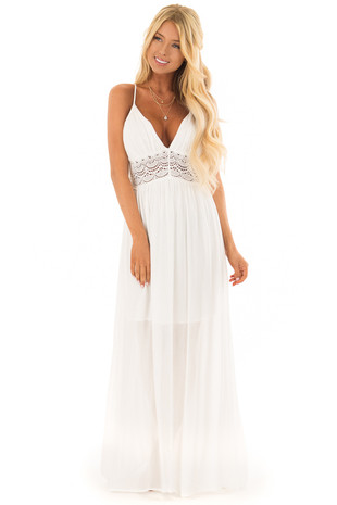Off White Sleeveless Crochet Lace Maxi Dress with Open Back front full body