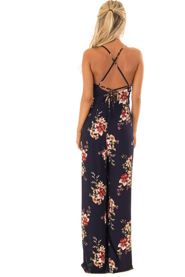 Navy Floral Sleeveless Jumpsuit with Lace Up Back back full body