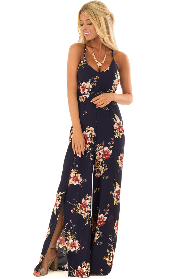Navy Floral Sleeveless Jumpsuit with Lace Up Back front full body