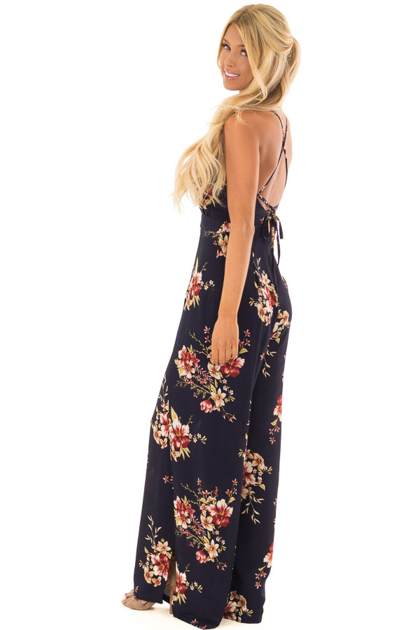 Navy Floral Sleeveless Jumpsuit with Lace Up Back side full body