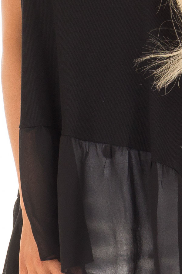 Black Ribbed Tank Top with Chiffon Trim front detail