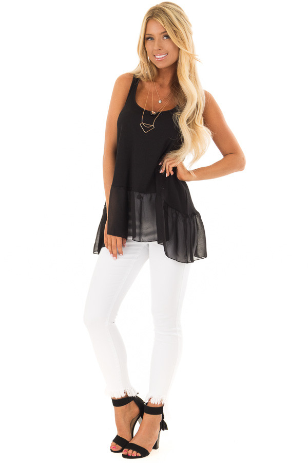 Black Ribbed Tank Top with Chiffon Trim front full body