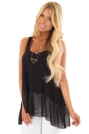 Black Ribbed Tank Top with Chiffon Trim front closeup