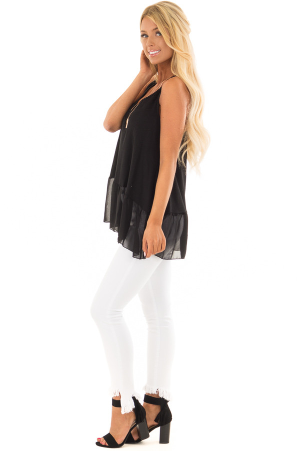 Black Ribbed Tank Top with Chiffon Trim side full body