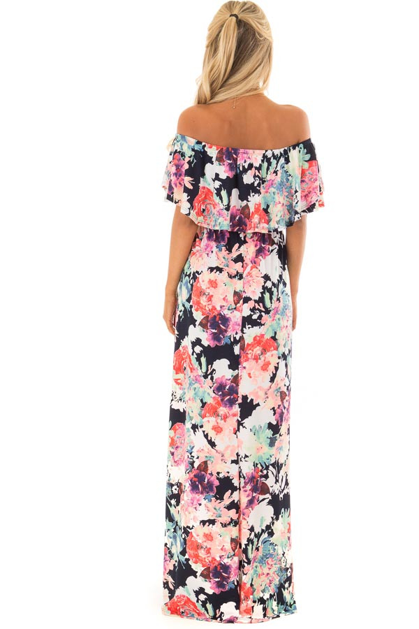 Navy Slinky Off the Shoulder Maxi with Neon Floral Print back full body