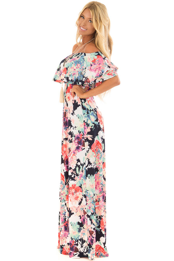 Navy Slinky Off the Shoulder Maxi with Neon Floral Print side full body