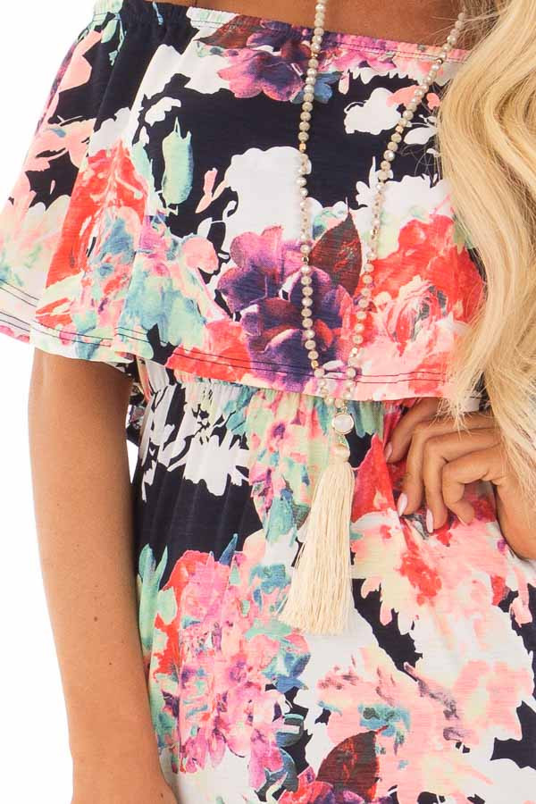 Navy Slinky Off the Shoulder Maxi with Neon Floral Print front detail