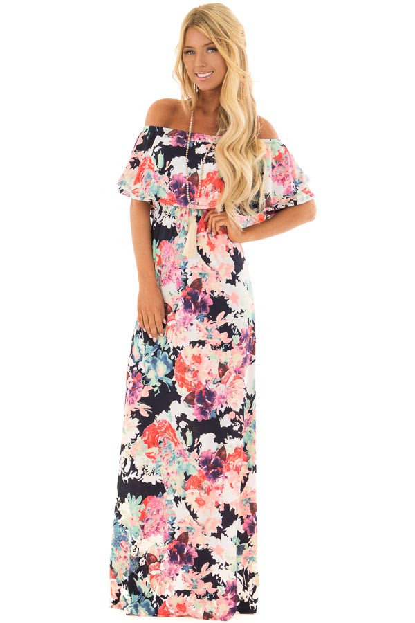Navy Slinky Off the Shoulder Maxi with Neon Floral Print front full body