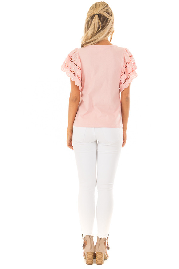 Blush Top with Crochet Short Sleeves and Pearl Detail back full body
