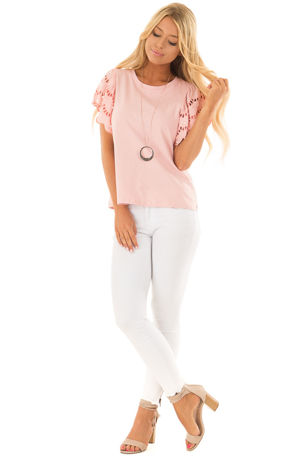 Blush Top with Crochet Short Sleeves and Pearl Detail front full body