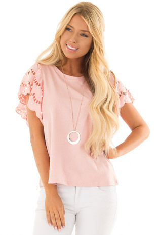 Blush Top with Crochet Short Sleeves and Pearl Detail front closeup