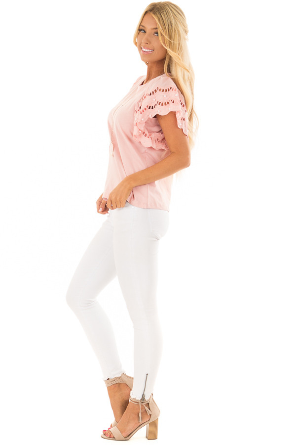 Blush Top with Crochet Short Sleeves and Pearl Detail side full body