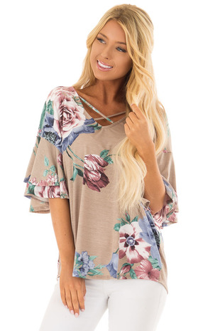 Taupe Floral Print Top with Criss Cross Neckline front closeup