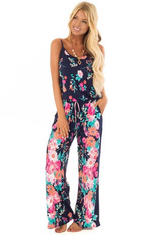 Navy Jumpsuit with Colorful Floral Print and Waist Tie front full body